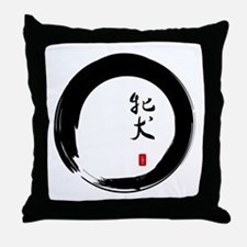"Enso with Chinese for ""Bitch"" Throw Pillow"