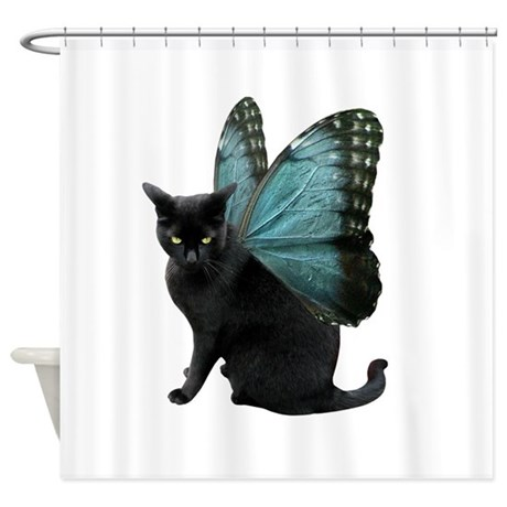 Butterfly Cat Shower Curtain By Catsclips