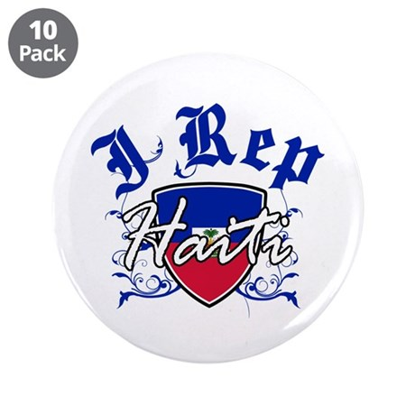 """I Rep Haiti 3.5"""" Button (10 pack)"""