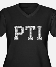 PTI, Vintage, Women's Plus Size V-Neck Dark T-Shir