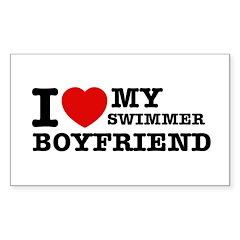 I love My Swimmer Boyfriend Sticker (Rectangle 10