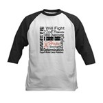 Uterine Cancer Persevere Kids Baseball Jersey