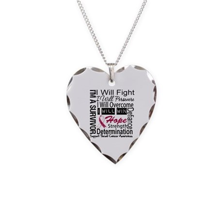 Throat Cancer Persevere Necklace Heart Charm