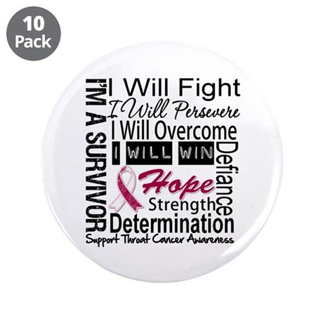 """Throat Cancer Persevere 3.5"""" Button (10 pack)"""