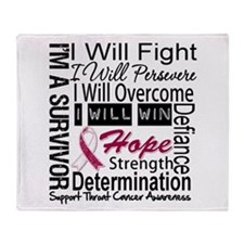Throat Cancer Persevere Throw Blanket