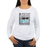 Ovarian Cancer Persevere Shirts Women's Long Sleev