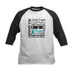 Ovarian Cancer Persevere Shirts Kids Baseball Jers