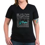 Ovarian Cancer Persevere Shirts Women's V-Neck Dar