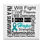 Ovarian Cancer Persevere Shirts Tile Coaster