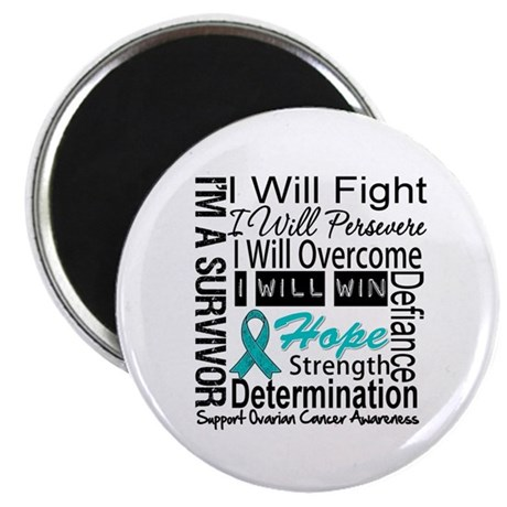 "Ovarian Cancer Persevere Shirts 2.25"" Magnet (100"