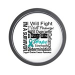 Ovarian Cancer Persevere Shirts Wall Clock