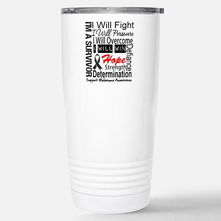 Melanoma Cancer Persevere Shirts Travel Mug