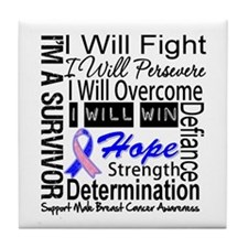 Male Breast Cancer Persevere Tile Coaster