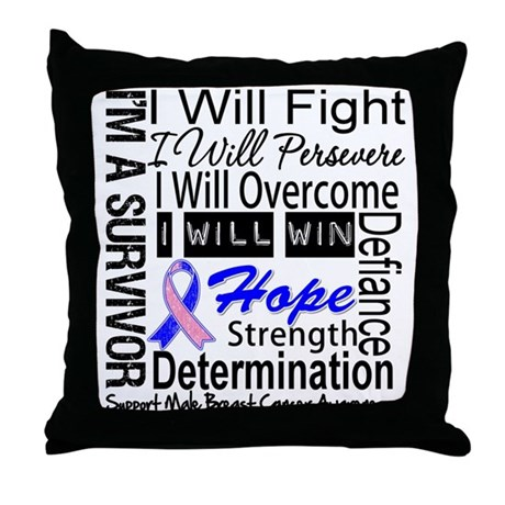 Male Breast Cancer Persevere Throw Pillow