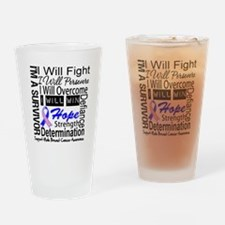 Male Breast Cancer Persevere Drinking Glass