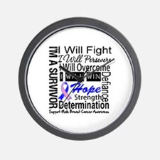 Male Breast Cancer Persevere Wall Clock