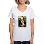 Mona Lisa - Basenji #1 Women's V-Neck T-Shirt