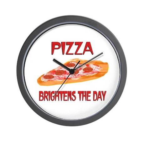 Pizza Brightens Wall Clock