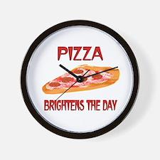 Pizza Brightens Wall Clock