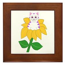"""""""White & Purple Sunflower Kitty"""" Framed Tile"""