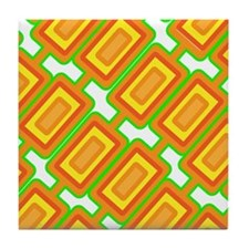 70's Mod Orange Retro Print Tile Coaster