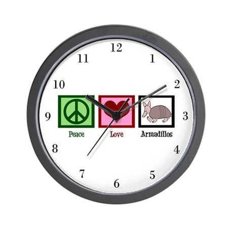 Peace Love Armadillos Wall Clock