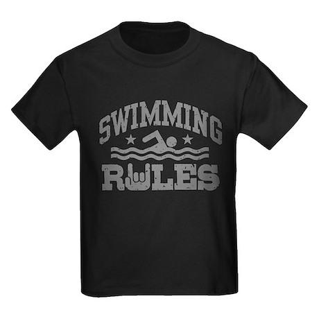 Swimming Rules Kids Dark T-Shirt