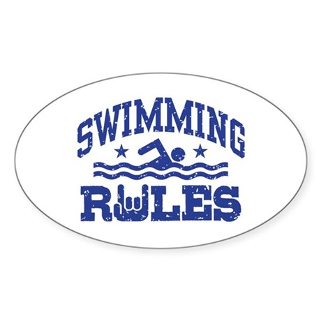 Swimming Rules Sticker (Oval)