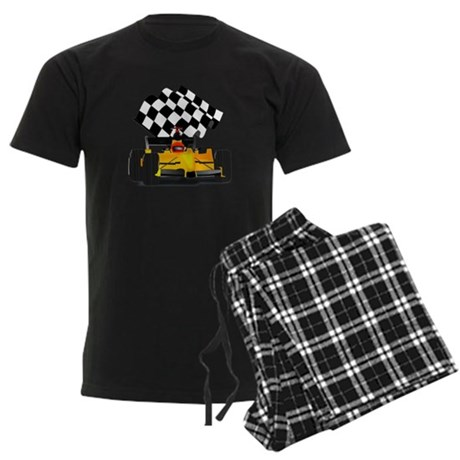 Yellow Race Car with Checkered Flag Men's Dark Paj