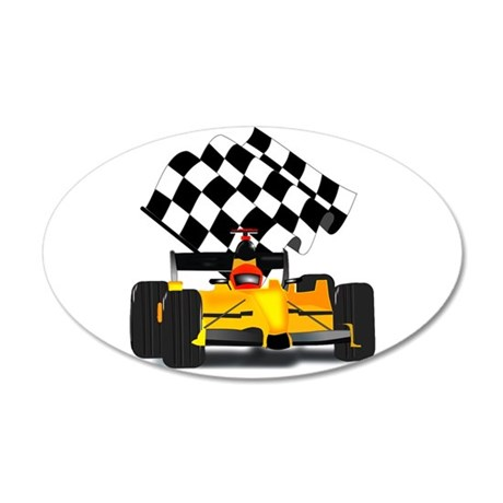 Yellow Race Car with Checkered Flag 38.5 x 24.5 Ov