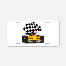 Yellow Race Car with Checkered Flag Aluminum Licen