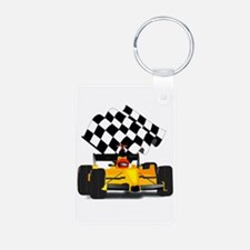 Yellow Race Car with Checkered Flag Keychains