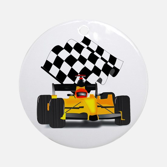 Yellow Race Car with Checkered Flag Ornament (Roun