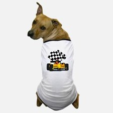 Yellow Race Car with Checkered Flag Dog T-Shirt