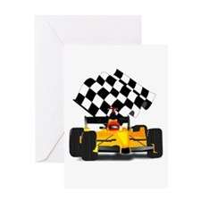 Yellow Race Car with Checkered Flag Greeting Card