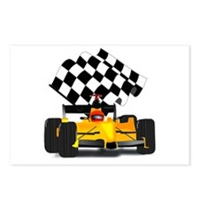 Yellow Race Car with Checkered Flag Postcards (Pac