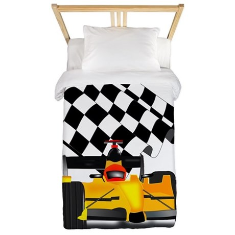 Yellow Race Car with Checkered Flag Twin Duvet