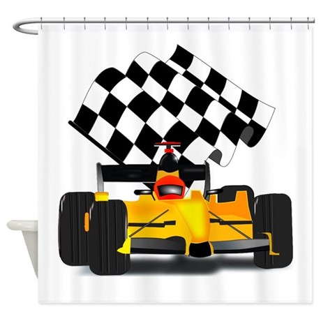 Yellow Race Car with Checkered Flag Shower Curtain