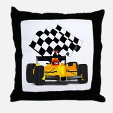 Yellow Race Car with Checkered Flag Throw Pillow
