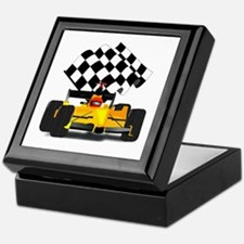 Yellow Race Car with Checkered Flag Keepsake Box