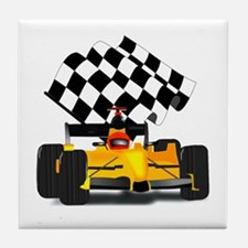Yellow Race Car with Checkered Flag Tile Coaster