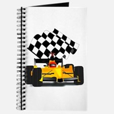 Yellow Race Car with Checkered Flag Journal
