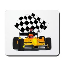 Yellow Race Car with Checkered Flag Mousepad