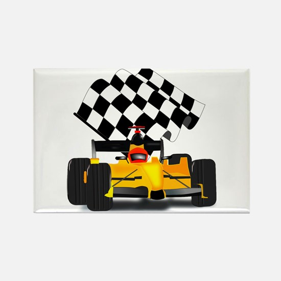 Yellow Race Car with Checkered Flag Rectangle Magn