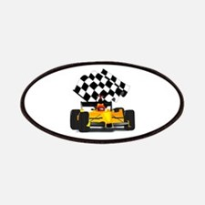 Yellow Race Car with Checkered Flag Patches
