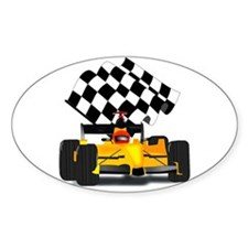 Yellow Race Car with Checkered Flag Decal