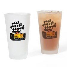 Yellow Race Car with Checkered Flag Drinking Glass