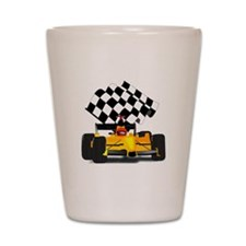 Yellow Race Car with Checkered Flag Shot Glass