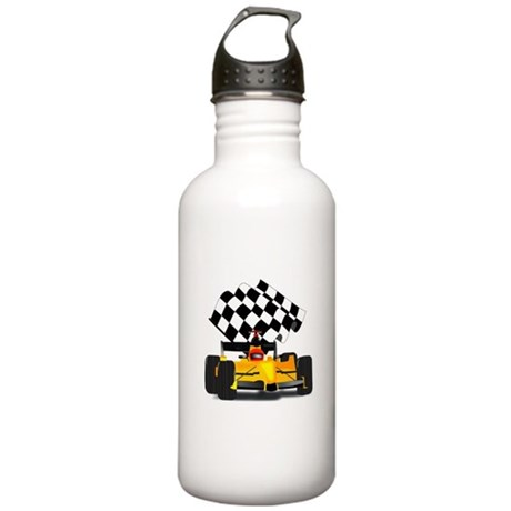 Yellow Race Car with Checkered Flag Stainless Wate