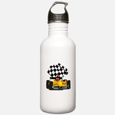 Yellow Race Car with Checkered Flag Water Bottle
